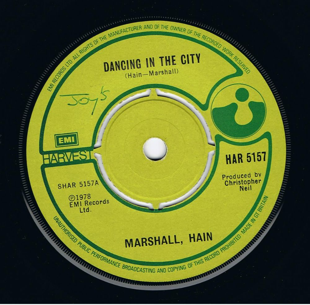MARSHALL, HAIN Dancing In The City Vinyl Record 7 Inch Harvest 1978